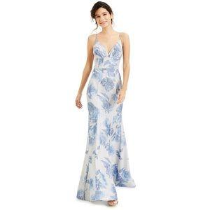 B Darlin V-Neck Glitter Floral Gown Silver Blue
